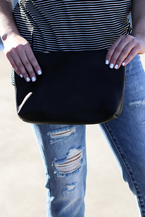 Can't Pin Me Down Safety Pin Clutch - Black - Madison and Mallory