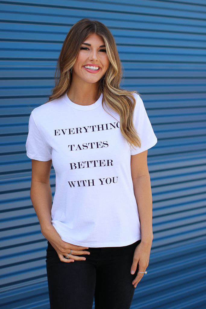 XS / White Everything Tastes Better With You Graphic Top - Madison + Mallory