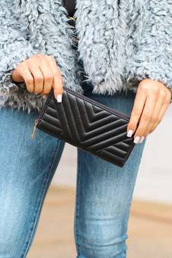 Black Brody Quilted Zip Around Wallet - Madison and Mallory