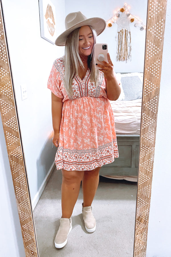 Stroll with Me Floral Print Dress - Coral - Madison and Mallory