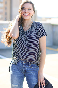 Black / S All Yours Striped Pocket Top - Black - Madison and Mallory