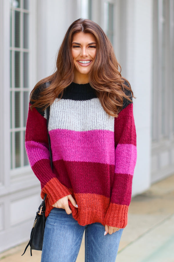 Fuchsia / S *DOORBUSTER* Kane Striped Knit Sweater - Fuchsia - Madison + Mallory