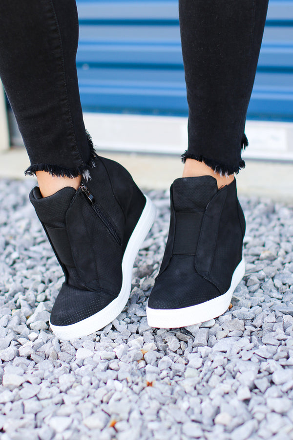 Suede Wedge Sneakers - Madison + Mallory