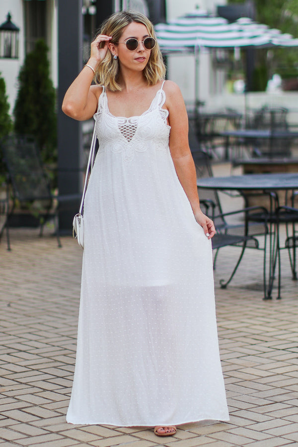 S / White Corina Boho Lace Maxi Dress - FINAL SALE - Madison and Mallory