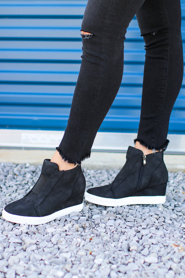5.5 / Black Suede Wedge Sneakers - Madison + Mallory