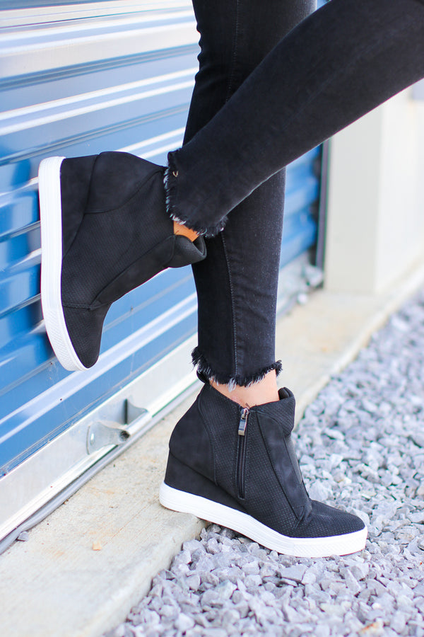 Suede Wedge Sneakers - Black - Madison + Mallory