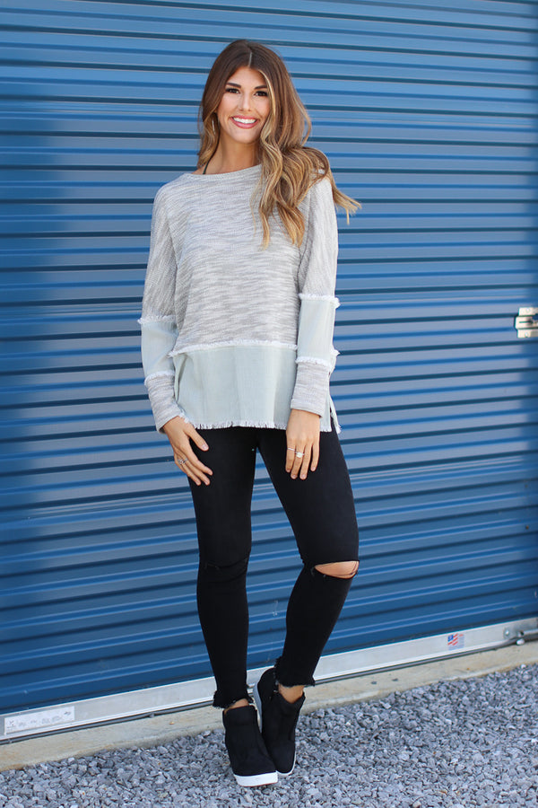 S / Silver Braelyn Knit Top - Madison + Mallory