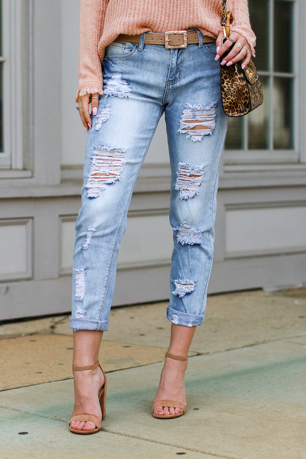 S / Light Wash It's That Simple Distressed Girlfriend Jeans - Madison + Mallory