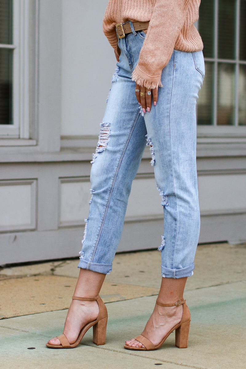 It's That Simple Distressed Girlfriend Jeans - Madison + Mallory