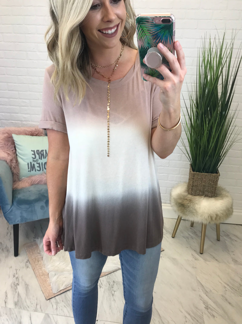 S / Taupe Tie Dye Relaxed Fit Tee - Madison + Mallory