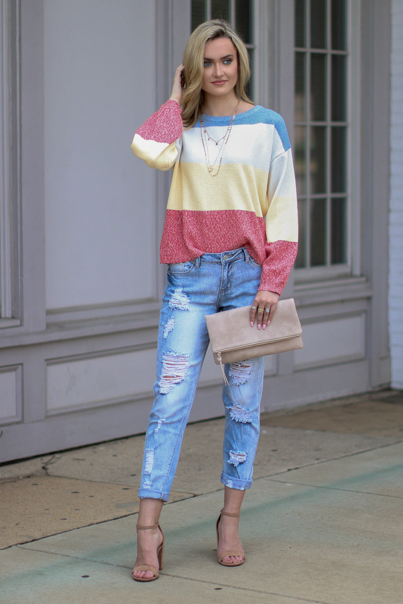 Happy Times Color Block Knit Sweater - FINAL SALE - Madison and Mallory