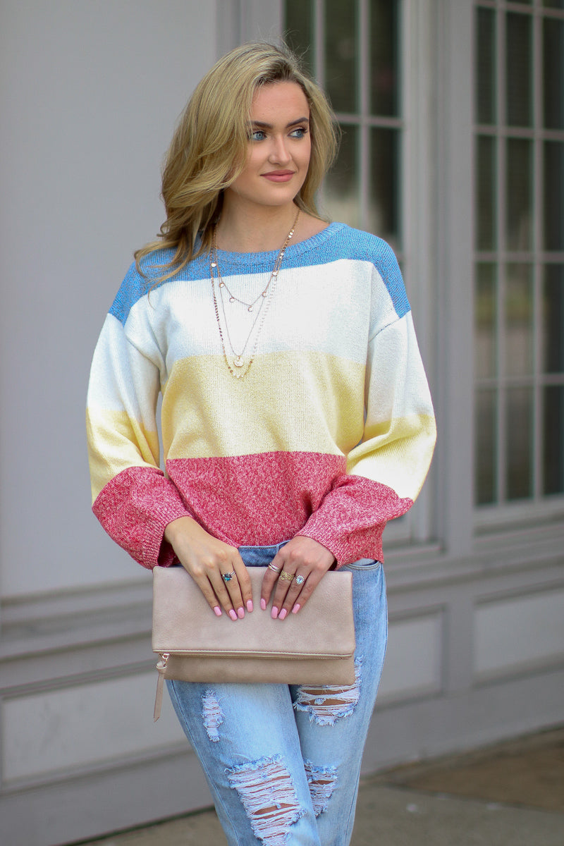 Happy Times Color Block Knit Sweater - Madison + Mallory