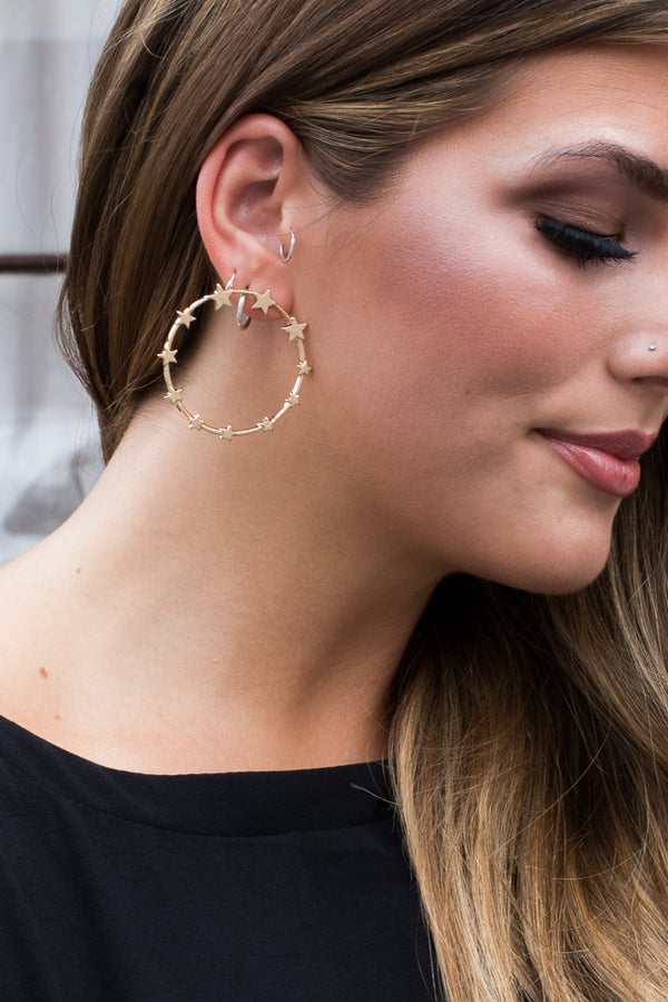 OS / Gold Circle the Stars Earrings - Madison + Mallory