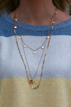 Gold Higher Ground Disc Layered Necklace - Madison and Mallory