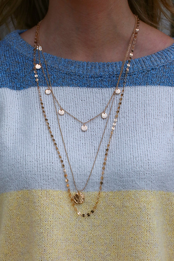 Gold Higher Ground Disc Layered Necklace - Madison + Mallory