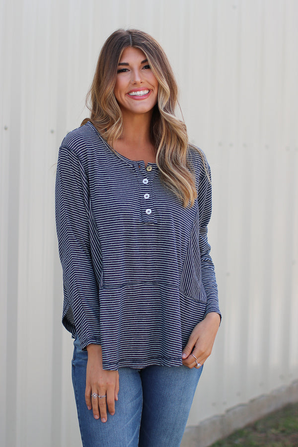 S / Navy Belle Striped Top - Madison + Mallory