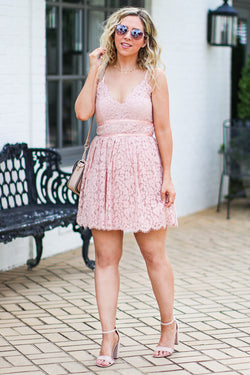 S / Blush Timeless Love Flare Lace Dress - FINAL SALE - Madison + Mallory