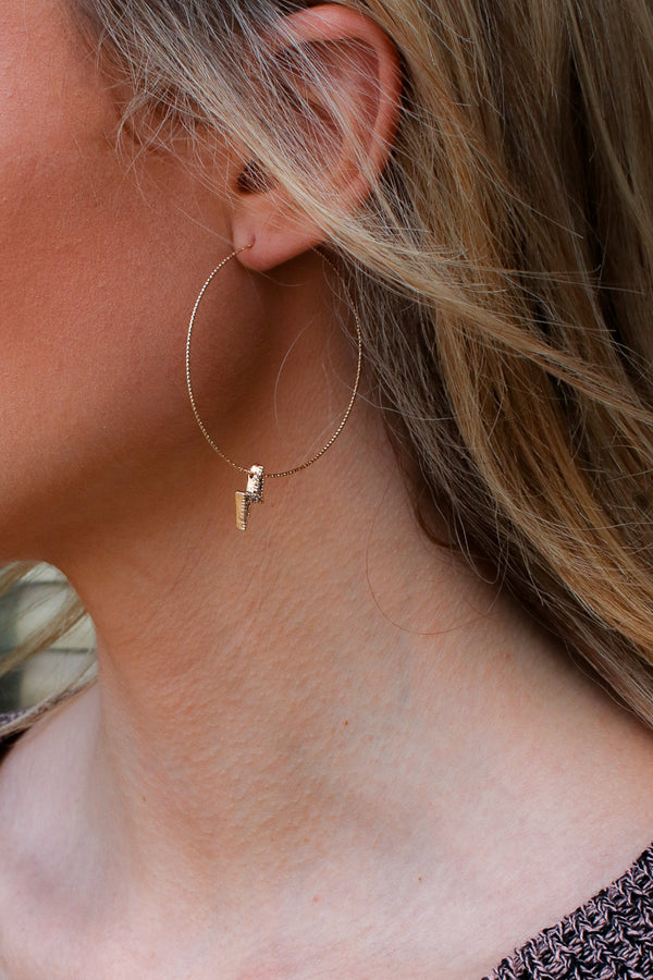 Gold Thunder and Lightning Hoop Earrings - Madison + Mallory
