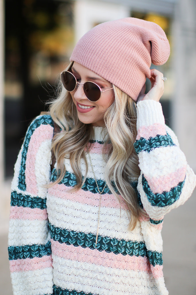 OS / Blush Day in the Snow Knit Beanie - Blush - Madison + Mallory