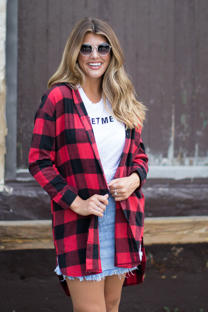 S / Red Buffalo Plaid Duster - Madison + Mallory