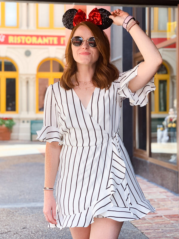 S / White Sayonara Striped Ruffle Wrap Romper - Madison + Mallory