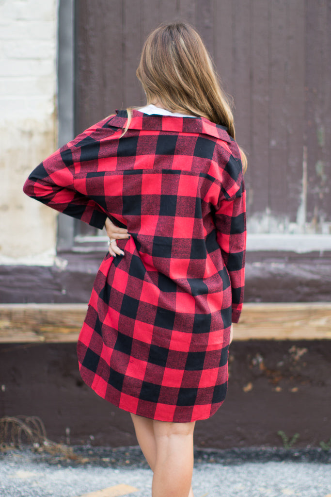 Buffalo Plaid Duster - Madison + Mallory