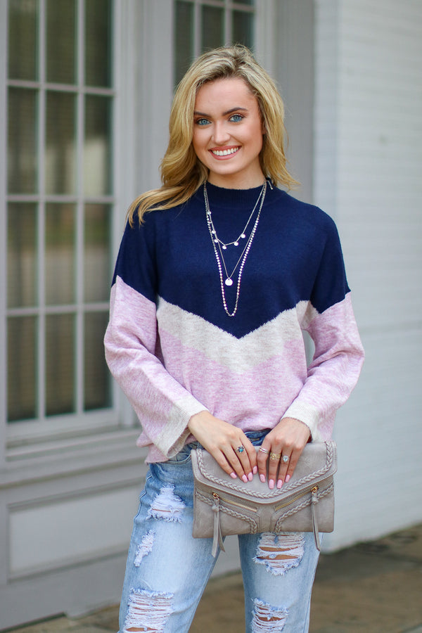 Correll Chevron Color Block Sweater | Curve - Madison + Mallory
