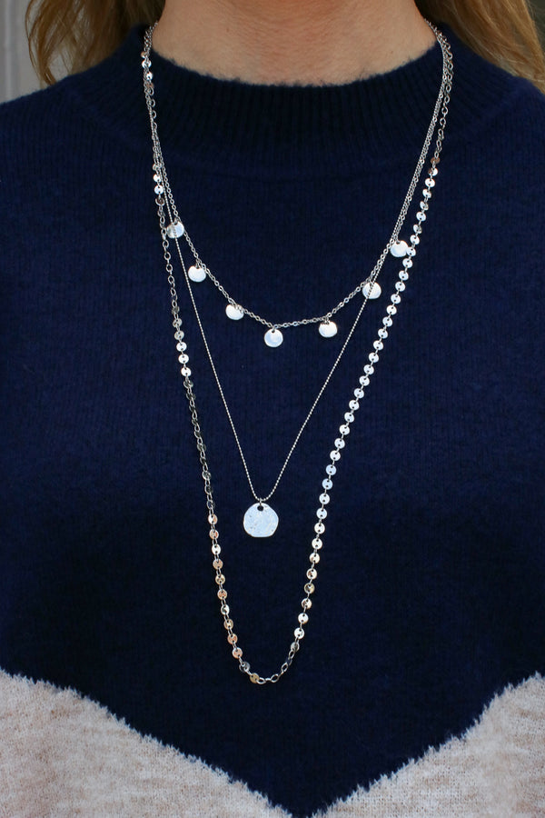 Silver Higher Ground Disc Layered Necklace - Madison + Mallory