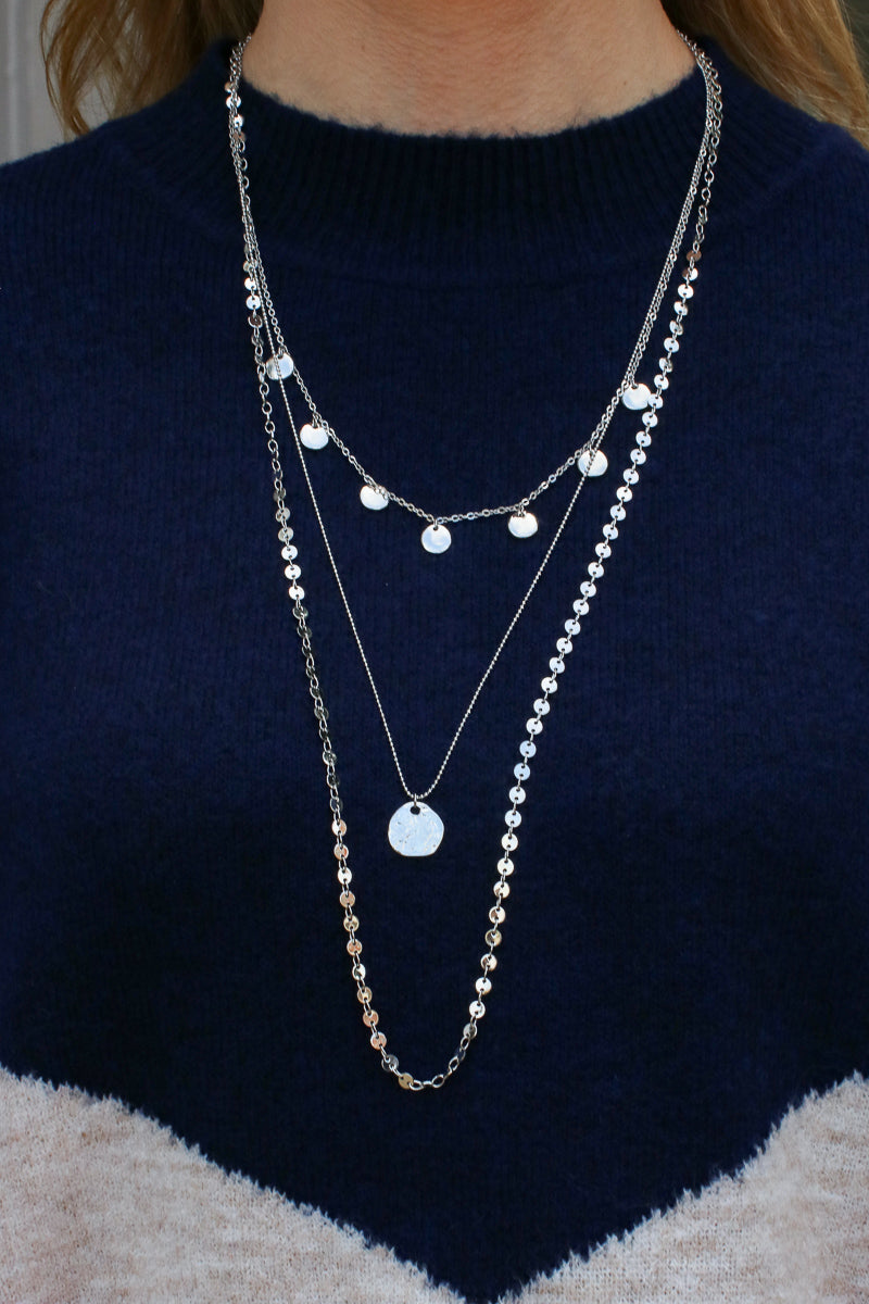 Silver Higher Ground Disc Layered Necklace - Madison and Mallory