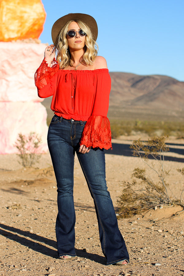 S / Red Kora Off Shoulder Lace Top - FINAL SALE - Madison + Mallory