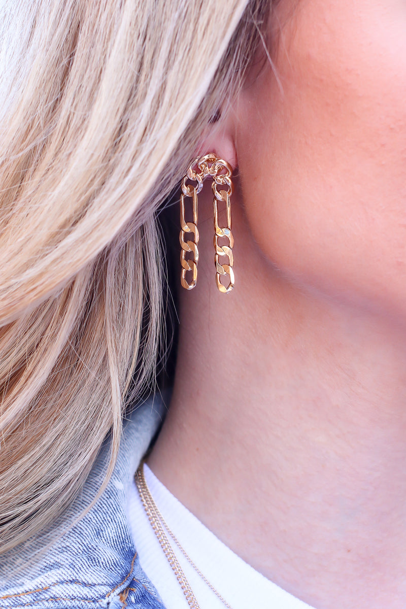 Gold Under Your Charm Chain Drop Earrings - Madison and Mallory
