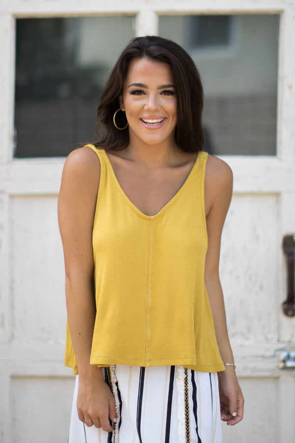 Mustard / S Mia V-Neck Swing Tank - Madison + Mallory