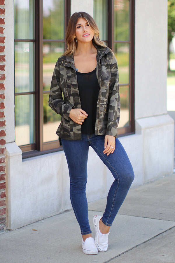 S / Olive Hide Out Camo Jacket - Madison + Mallory