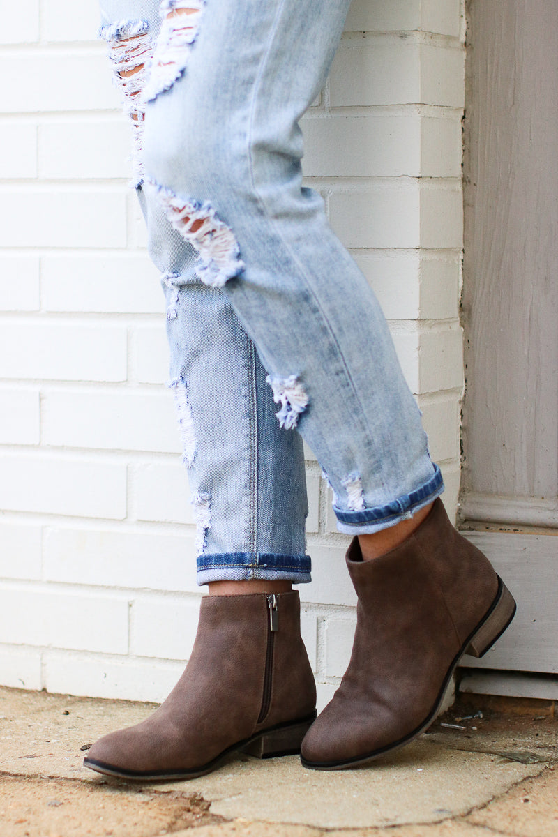 Kolie Zipper Detail Bootie - Taupe - Madison + Mallory