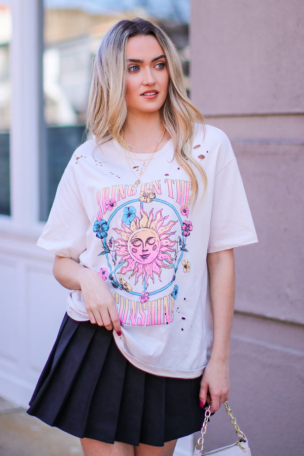 Bring on the Sunshine Graphic Tee - Light Khaki - Madison and Mallory