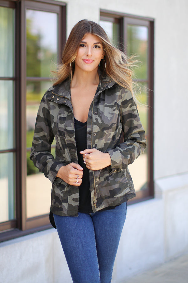 S / Olive Hide Out Camo Jacket - Madison and Mallory