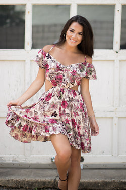 S / Pink Cutout Floral Ruffle Off Shoulder Dress - Madison + Mallory