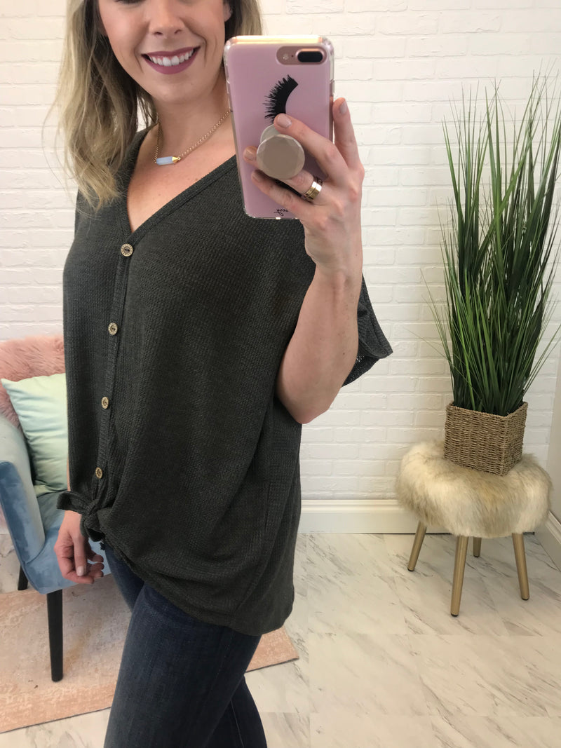 Charcoal / S Thermal Knot Button Down Top - Madison + Mallory