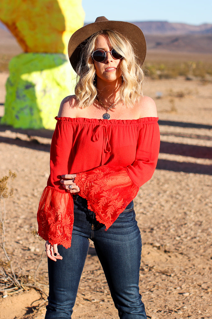 Kora Off Shoulder Lace Top - Madison + Mallory