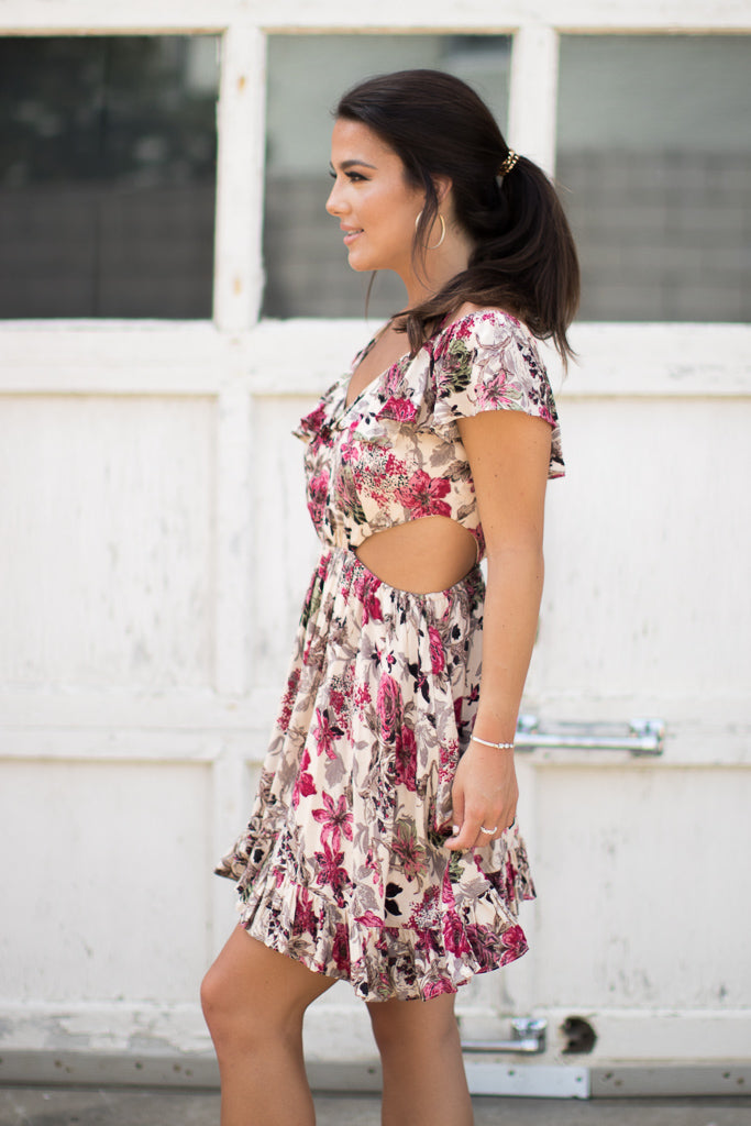 Cutout Floral Ruffle Off Shoulder Dress - Madison + Mallory