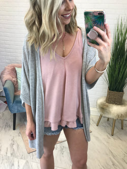 Gray / SM Open Front Knit Cardigan - Madison + Mallory