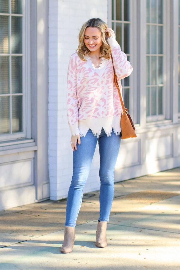 Hear Me Roar Frayed Leopard Sweater - FINAL SALE - Madison and Mallory