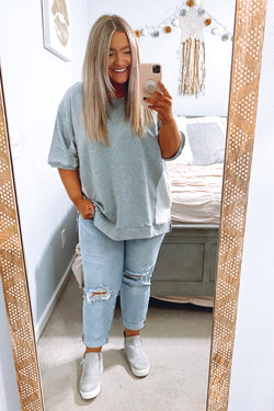 S / Heather Gray Balvin Short Sleeve Terry Knit Pullover - Madison and Mallory