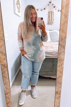 S / Coral Let's Meet Tie Dye Top - Madison and Mallory