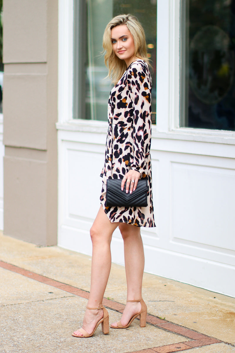 Rare Encounters Leopard Twist Dress - Madison + Mallory