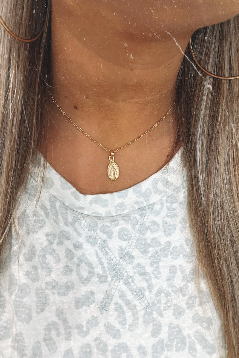Gold Such a Saint Coin Necklace - Madison and Mallory