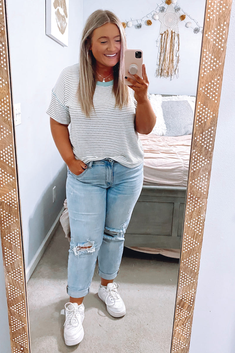 S / Ivory Finlee Striped Contrast Top - Madison and Mallory