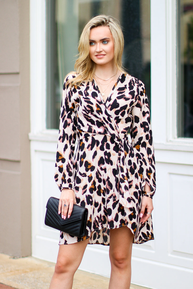 S / Taupe Rare Encounters Leopard Twist Dress - Madison + Mallory
