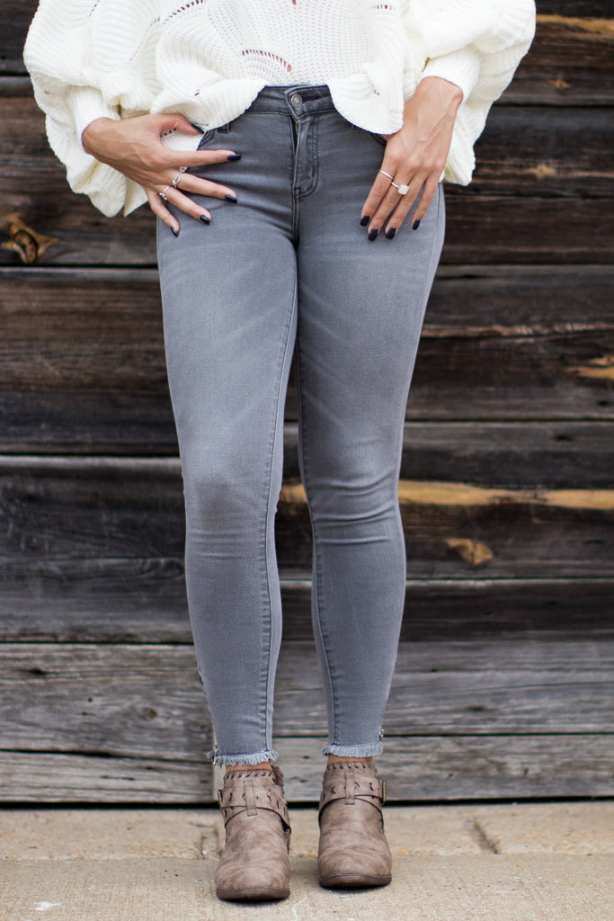 1/24 / Gray Grayson Skinny Zip Jeans - FINAL SALE - Madison + Mallory