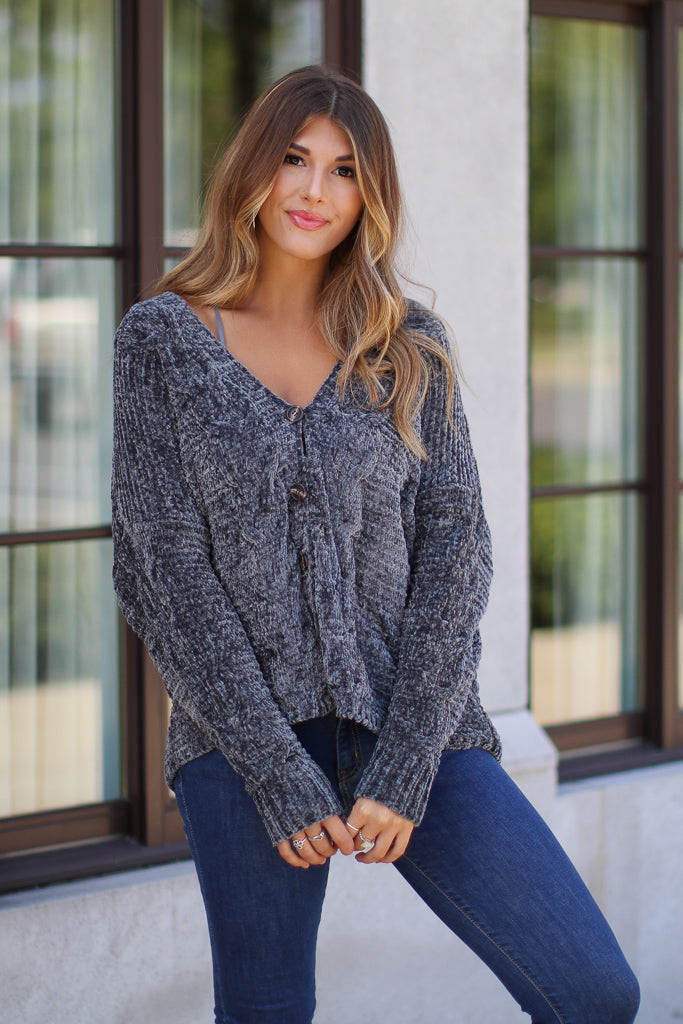 S / Charcoal Lillie Chenille Cardigan - Madison + Mallory